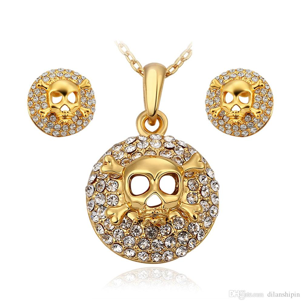 Jewelry Sets Women crystal Fashion classic Africa Turkey rhinestone party 18K Gold Plated Skeleton classic Necklace Earrings Set