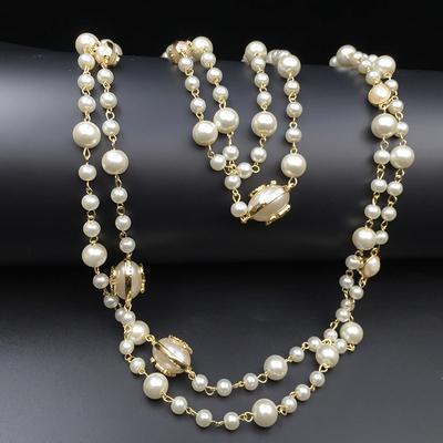 2016 Fashion Women Golden Chain Elegante perline perla Design lungo maglione catena collane fili / stringhe regalo di Natale