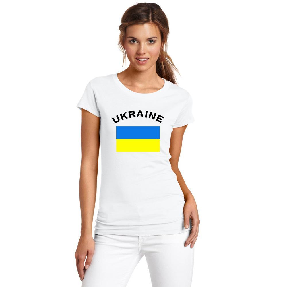 UKRAINE Frauen Fans Cheer T-Shirt Fußball Sport Fitness Gym Sommer Frauen Weiß T Shirts Nationa Flagge Gedruckt