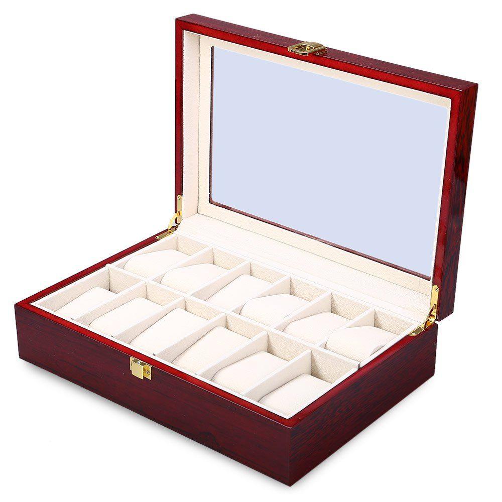 Gros-2016 New 12 Grille bois Montre affichage Boîte Case Bijoux Transparent Skylight Boîte cadeau Collections stockage vitrine