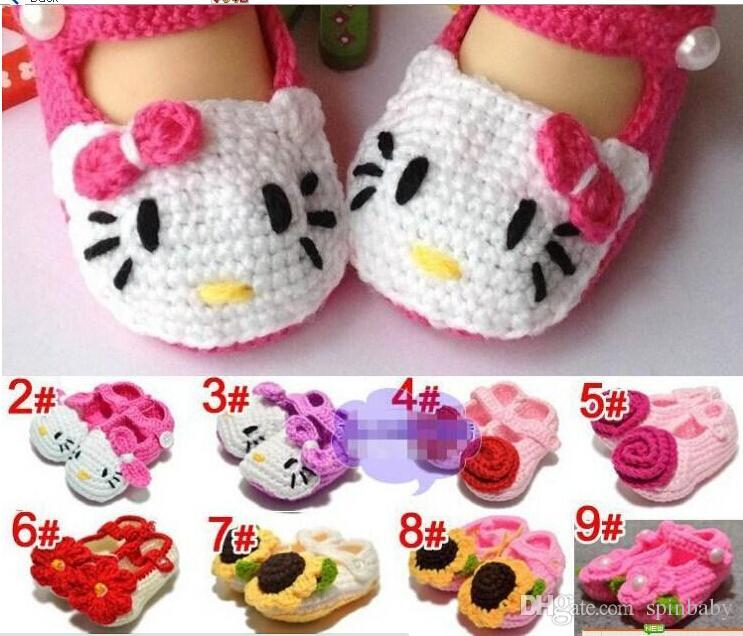 Handmade Toddler Baby Girl Shoes Baby Crochet Shoes Knit Flower Sandals Infant Hello cartoon Kitty Shoes 5pairs Free Shipping