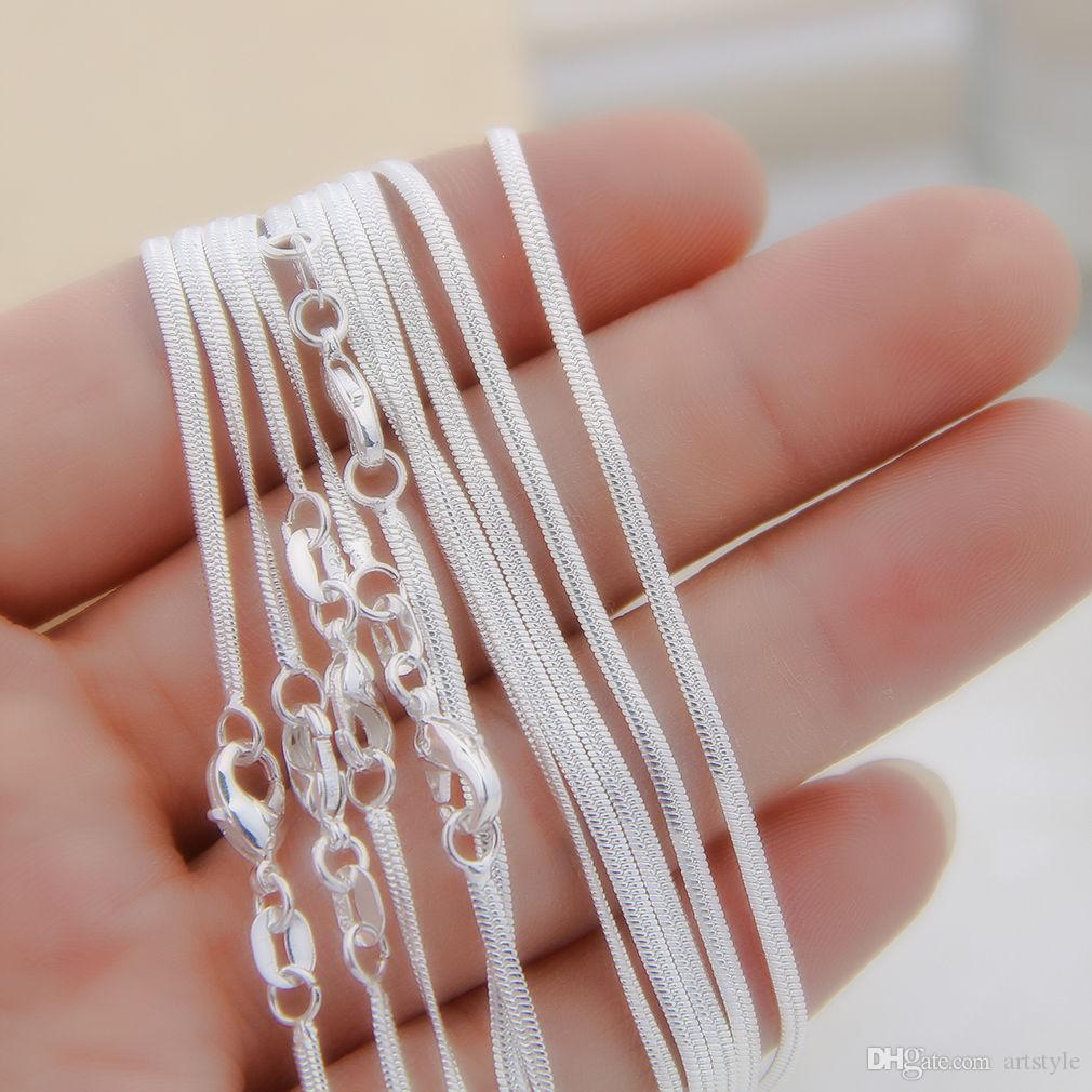 "Wholesale 10pcs/lot 925 Sterling Silver Snake Jewelry Necklace Chains 1.2mm Lobster Clasps 16""/18""/20""/22""/24""/26""/28""/30"""