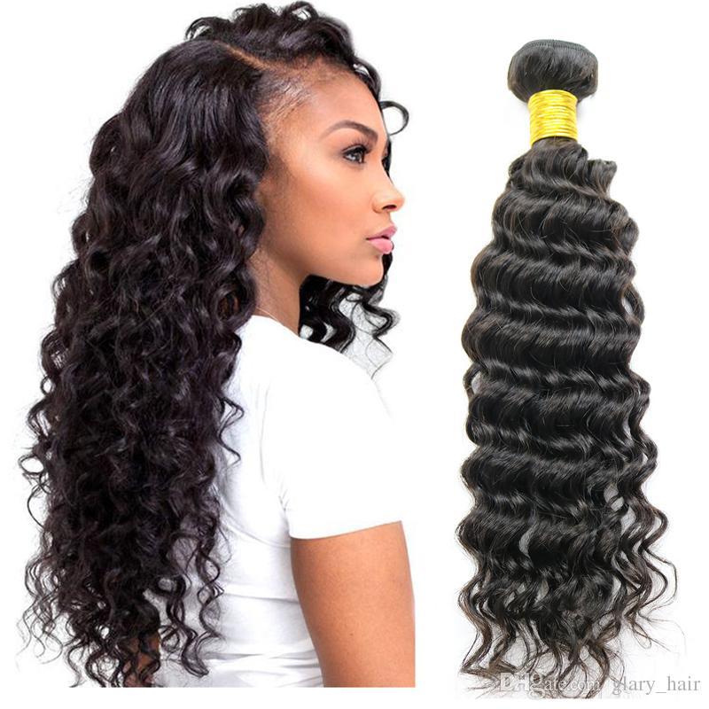 الماليزية عذراء الشعر موجة عميقة البرازيلي عميق مجعد الشعر نسج حزم 100٪ غير المجهزة الإنسان الشعر اللحمات متموجة