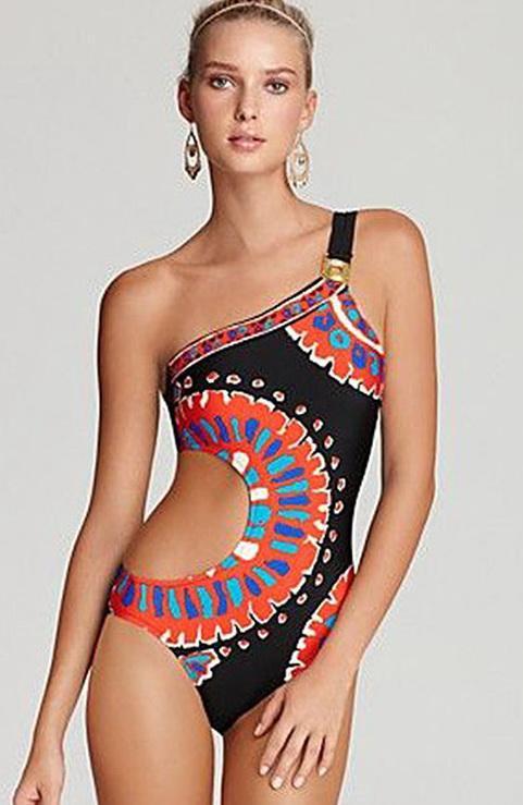Retro Geometria Imprimir Um Pedaço Swimsuit Mulheres Swimwear Sexy Oco Out Monikini Maiô Um Ombro Trikini Beachwear no45