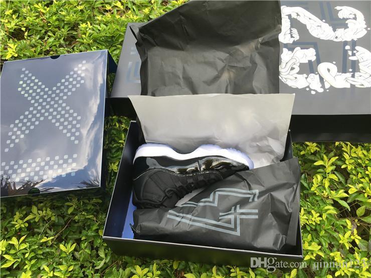 Con la caja de 11S bajo Space Jam tamaño 11 blanco y negro los hombres zapatillas de baloncesto para hombre zapatillas de deporte entrenadores XI fibra de carbono 8-13 12