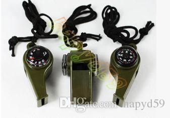 heiße 3 in1 Camping Wandern Notüberlebens Getriebe Kompass Kompass Thermometer im Freien brauchen ArmyGreen Farbe mit Seil