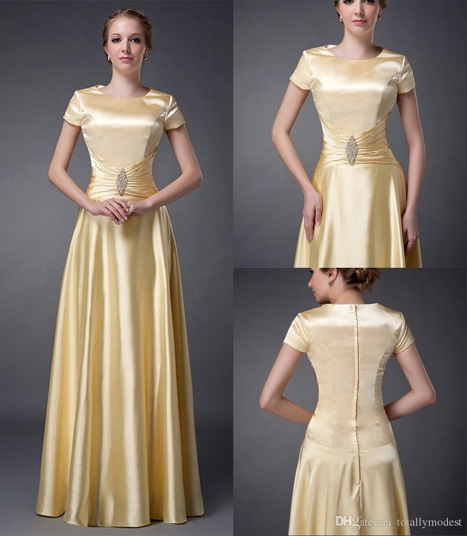 hot new products half off huge discount Yellow Satin A Line Long Modest Bridesmaid Dresses With Short Sleeves High  Jewel Neck Floor Length Formal Temple Brides Maid Dresses Modest Evening ...