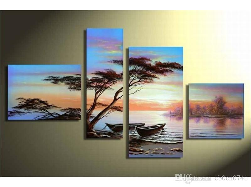Mode handgemalte Ölgemälde Wandkunst Meer Boot Home Decoration Landschaft auf der Leinwand 4pcs / set