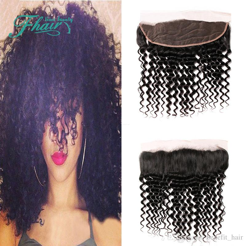 Cheap 8A Indian Deep Curly Lace Frontal Closure With Baby Hair 13X4 Human Hair Lace Frontal Closure Free Shipping DHL