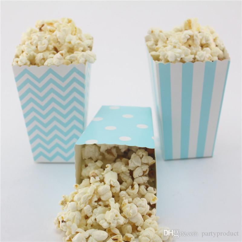Free shipping!!!24pcs/lot Eco-friendly mix striped/polk dot/chevron baby Blue paper popcorn box for wedding/baby shower