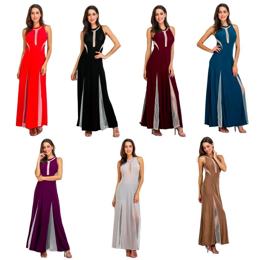 2017 Haute Split Maxi Robe En Mousseline de Soie Solide Sexy Soirée Clubwear Spaghetti Strap Robes de Plage Robes Femininos Robes Plus La Taille