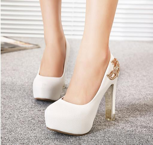 Rhinestone Fox Mask Bridal Heels White Heel Ivory Shoes Comfortable Thick Platform Wedding 12CM Size 35 To 39 2018 From Tradingbear