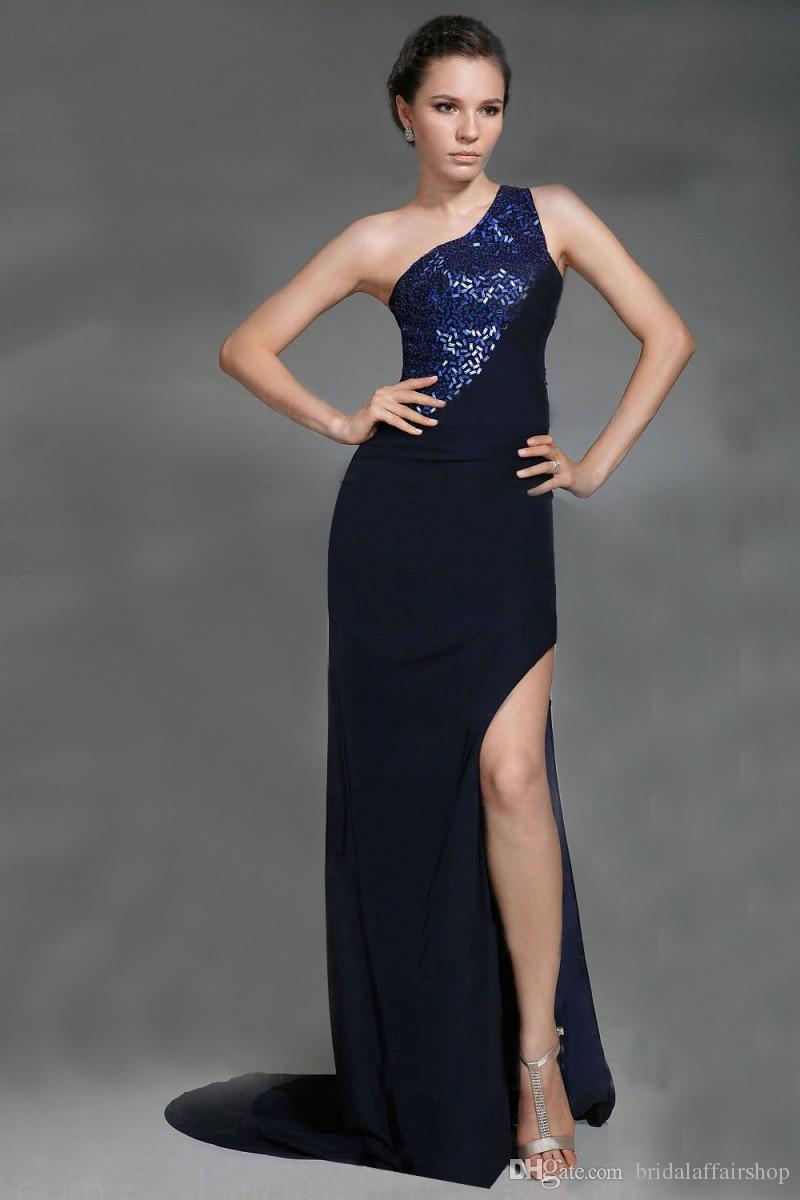 New Arrival A-Line One Shoulder Side Siffon z cekinami Formalna suknia wieczorowa Druhna Bal Suknie