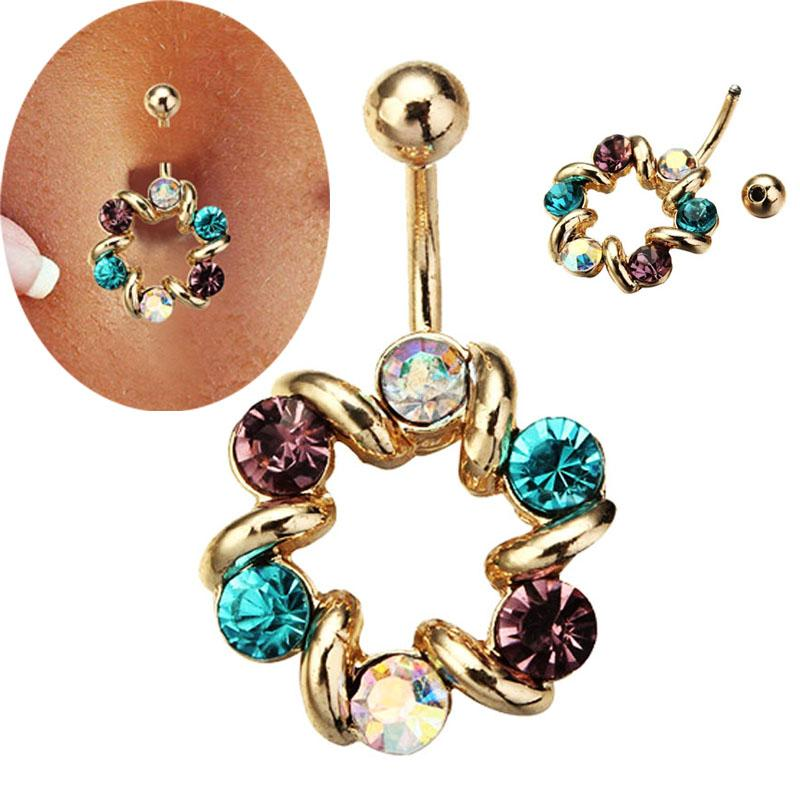 2016 wholesale popular 14G Colorful Rhinestones Belly Button Ring Body Jewelry Piercing Ring piercing body piercing jewelry
