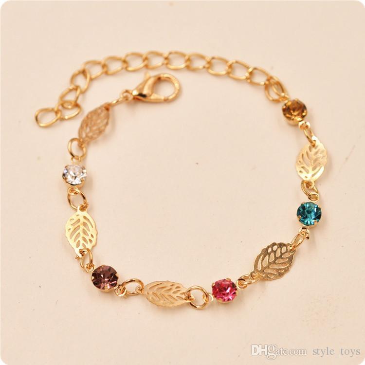 Romantic Crystal Bracelet for Women Girls Gold Plated Chain ...
