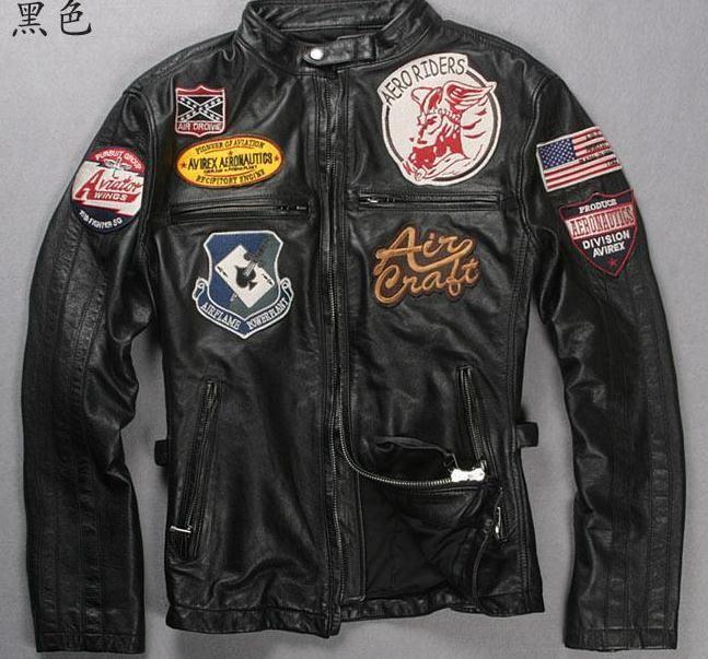 Noir brun AVIREX première couche de cuir de vachette veste en cuir vêtements types marqué dermique veste livraison gratuite