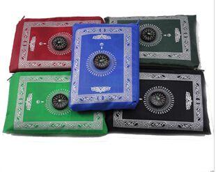 100шт / серия Оптовый самый лучший продавая путешественник исламская ковер карман молитвенный коврик с компасом для мусульман молитвы