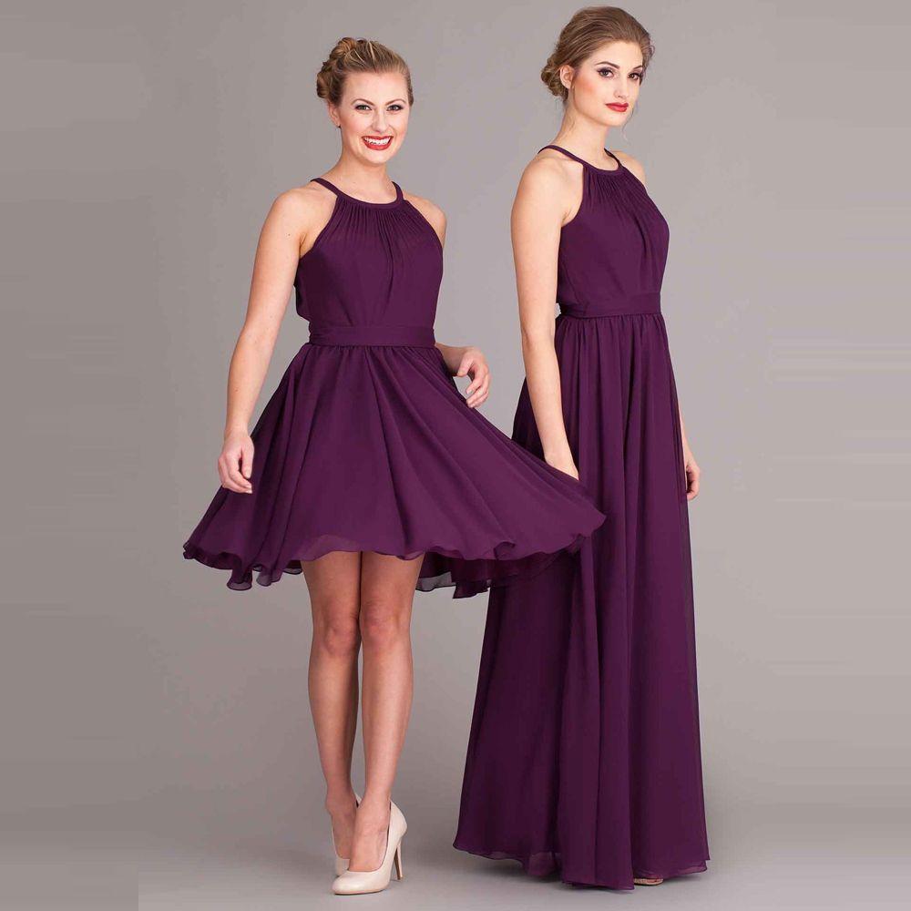 Coral Colored Bridesmaid Dresses Short Halter Neck Draped Keyhole ...