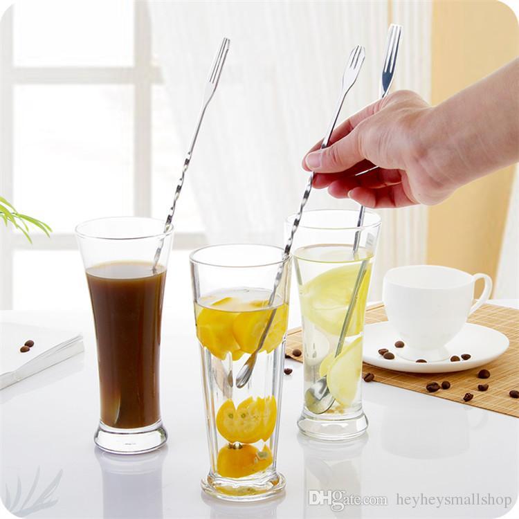 Ложка нержавеющей стали 26км длинная смешивая, спиральные длинные ложки бара для коктейля выпивая, 2 главных длинных вилки ложек