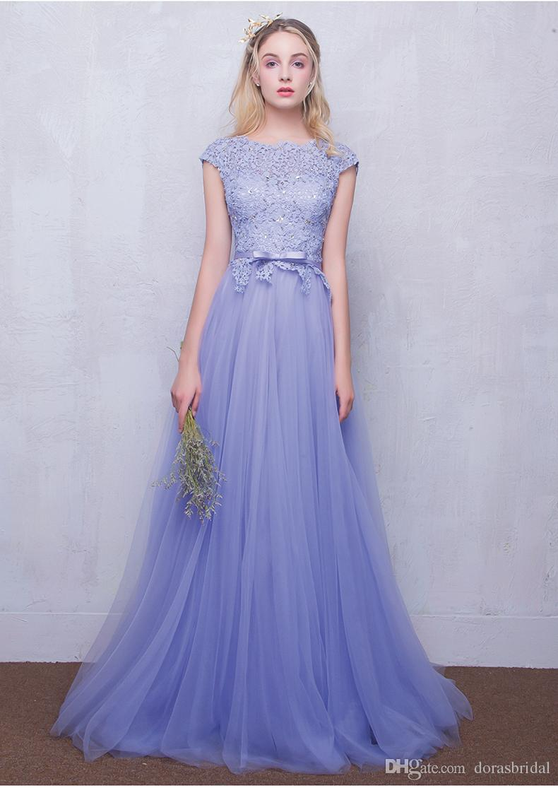 Cheap Bridesmaid Dresses With Tulle & Lace Scoop Neckiline Floor ...