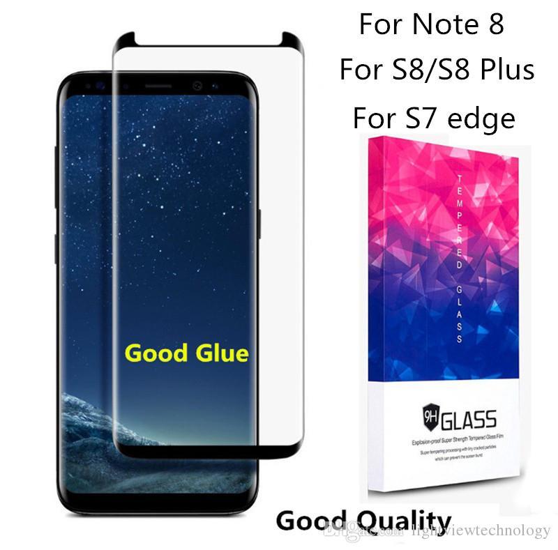 Чехол для Galaxy Note 9 S9 Note 8 S8 Plus S7 edge 3D полный экран изогнутое закаленное стекло с деревянным пакетом