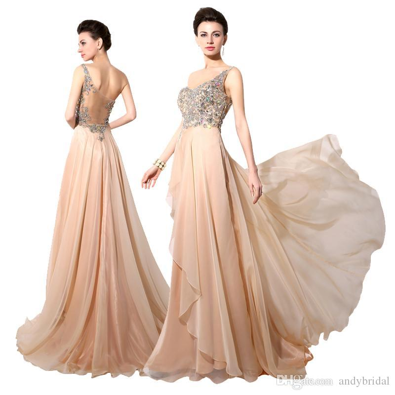2016 Prom Dresses Long Evening Gowns One Shoulder Backless Beaded ...