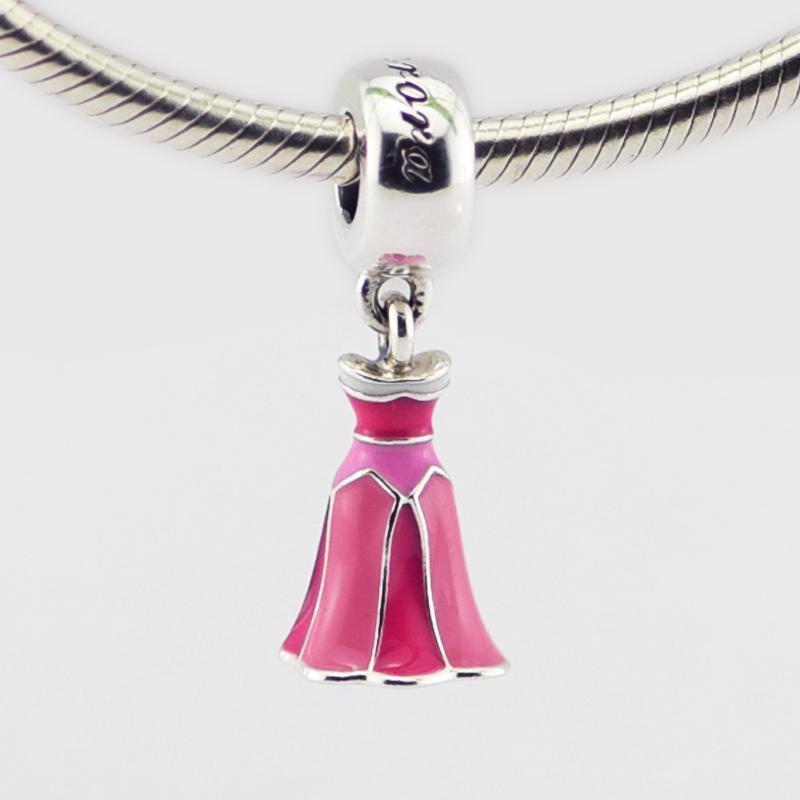New 925 sterling silver beads charms dangle Aurora's Dress, Pink Enamel Fits for Pandora Snake chain Bracelets bangle DIY Pendant Jewelry