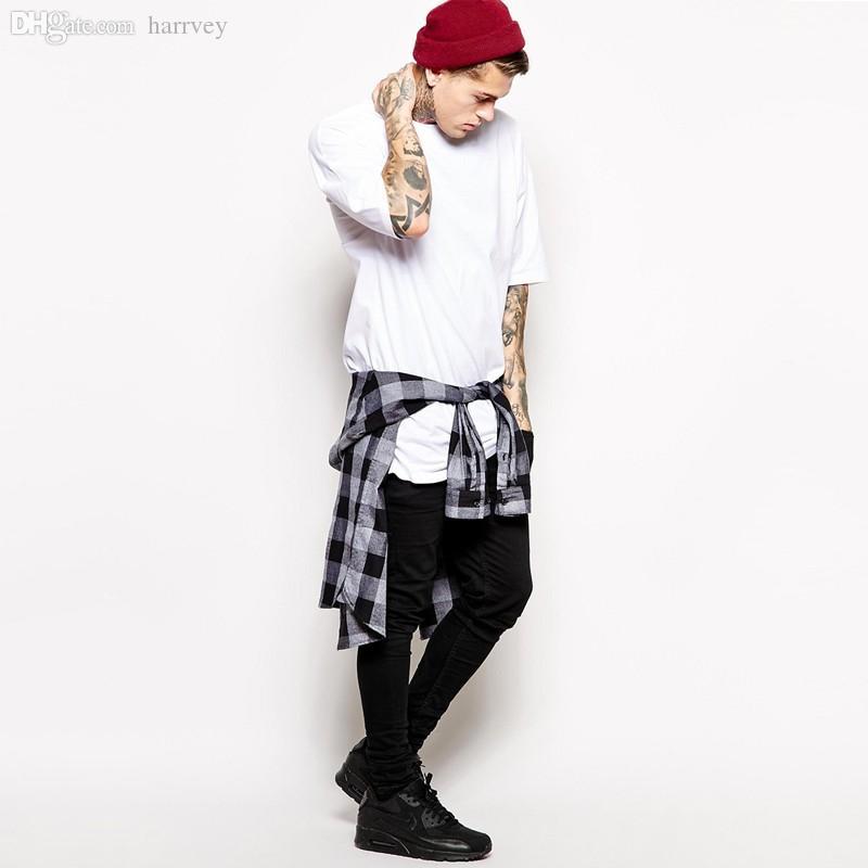 Vente en gros-2016 été longue T-shirt pour hommes T-shirt long sport Hip Hop T-shirt surdimensionné Street wear Street Loose Bandana Tee shirt Homme Tops