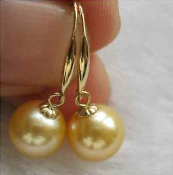Classico orecchino di perle in oro giallo 14 kt, rotondo, mare rotondo, 10-11 mm