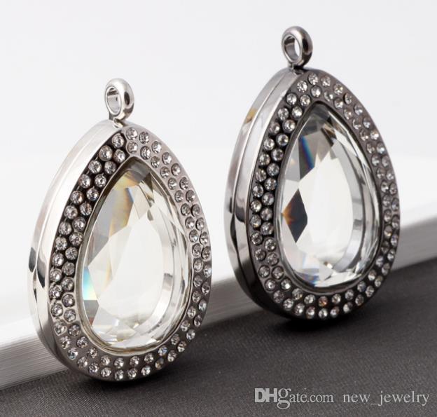 Water Drop Diamond Glass DIY Medaillon Sieraden Accessoires met Rhinestone Drijvende medaillon Opening Crystal Medaets