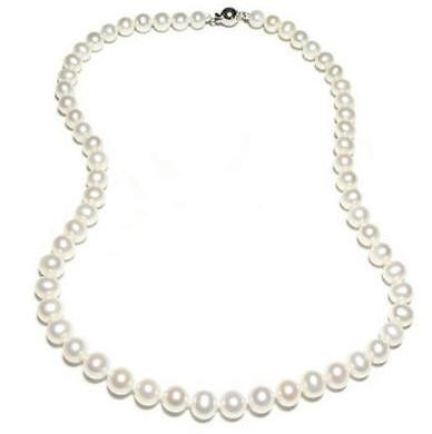Wunderschöne 8-9mm echte Südsee White Pearl Halskette 17,5 Zoll 925 Silber Verschluss