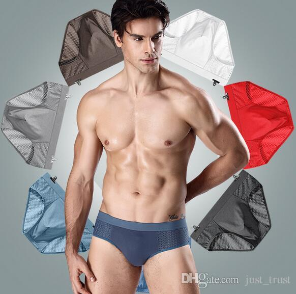 Factory price DHl free Sports Model Breathable mesh men's boxer brifes 7 colors Big soft U Design bulge Ice silk Bump Men's Underwear