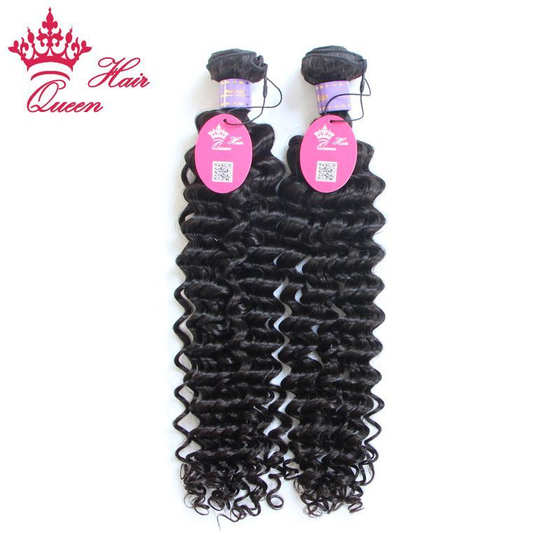 """Koningin Haar Virgin Maleisische Diepe Golf Virgin Hair Extensions Maleisisch Krullend Maagd Haar 2pcs Lot 8 """"-28"""", 100 g / stuk 1b #"""