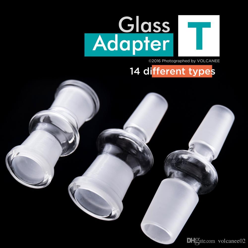 Adaptador de vidro Conversor 14 Tipos Diferentes 10mm 14mm 18mm Junção Macho e Fêmea para Tubos de Água Plataformas de Petróleo Bongos de Vidro