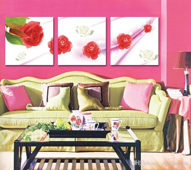 Acheter Livraison Gratuite 3 Pièces Aucune Image De Limage Impressions Sur Toile Abstrait Arbres Noir Et Blanc Fleur De Dessin Animé Rose