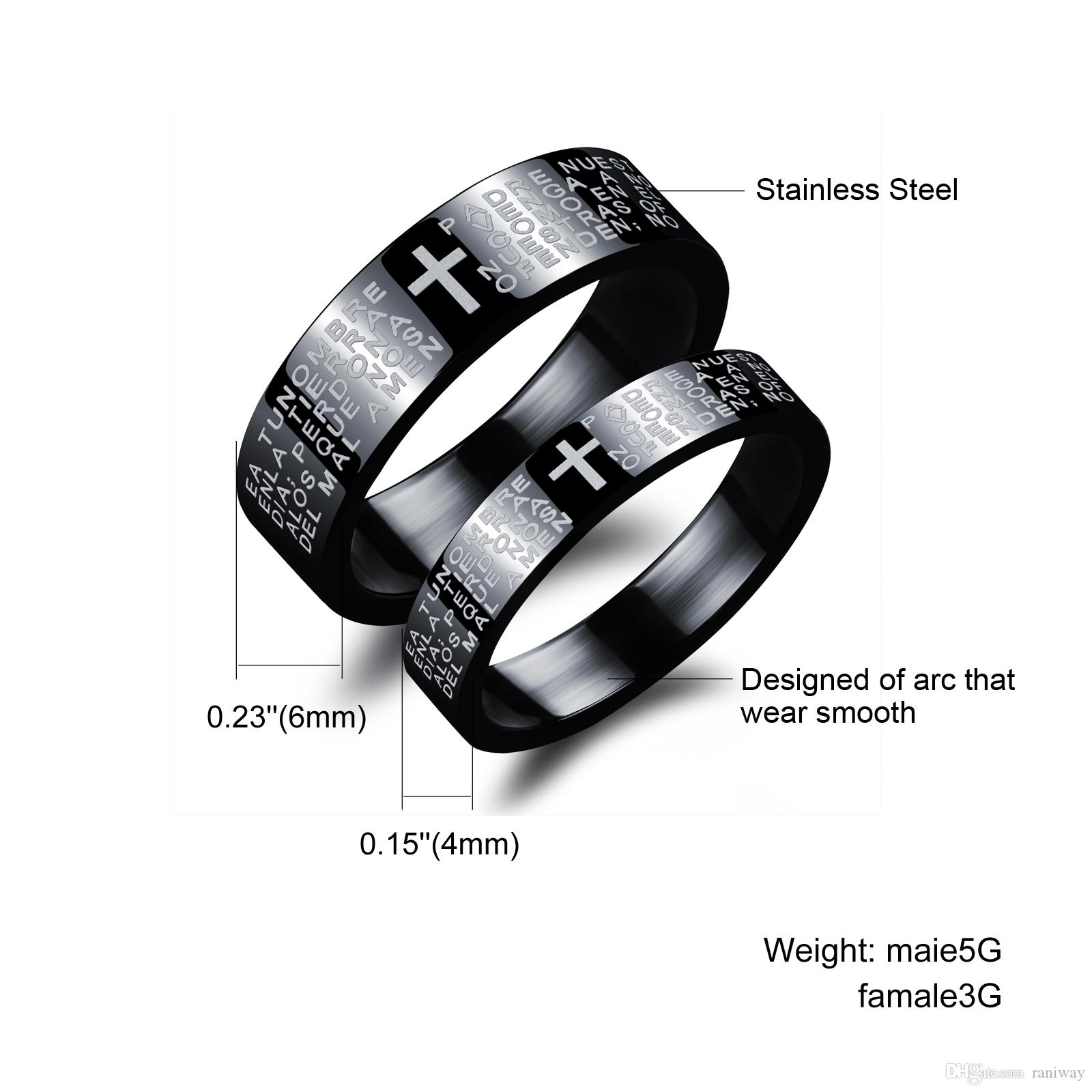 2017 His And Her Matching Titanium Steel Lovers Promise Ring Black ...