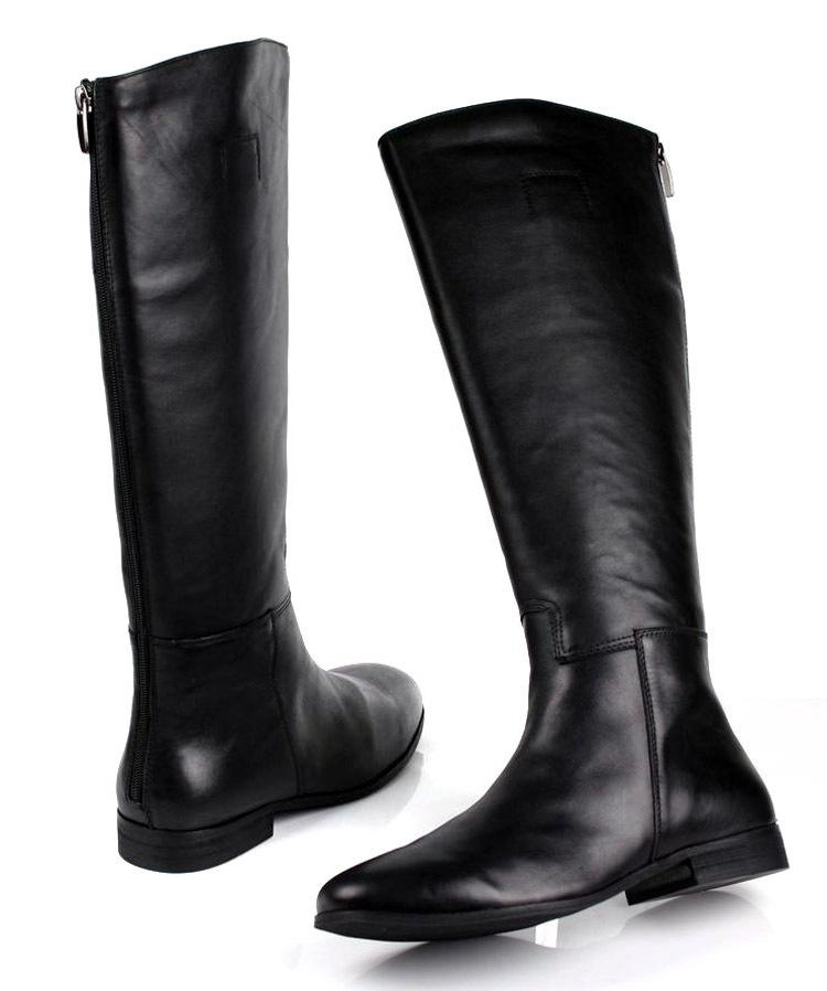 Cheap Large Size Mens Knee High Boots Fashion Black Genuine ...