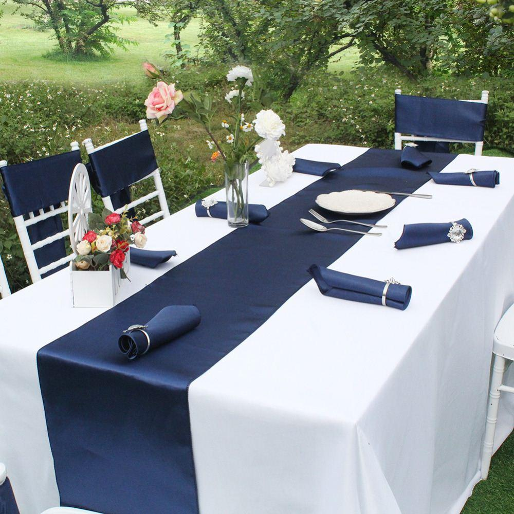 Brand Luxury Satin Table Runner Elegant Table Runners Table Cloth Wedding Decoration Party Products Home Textile Navy Blue