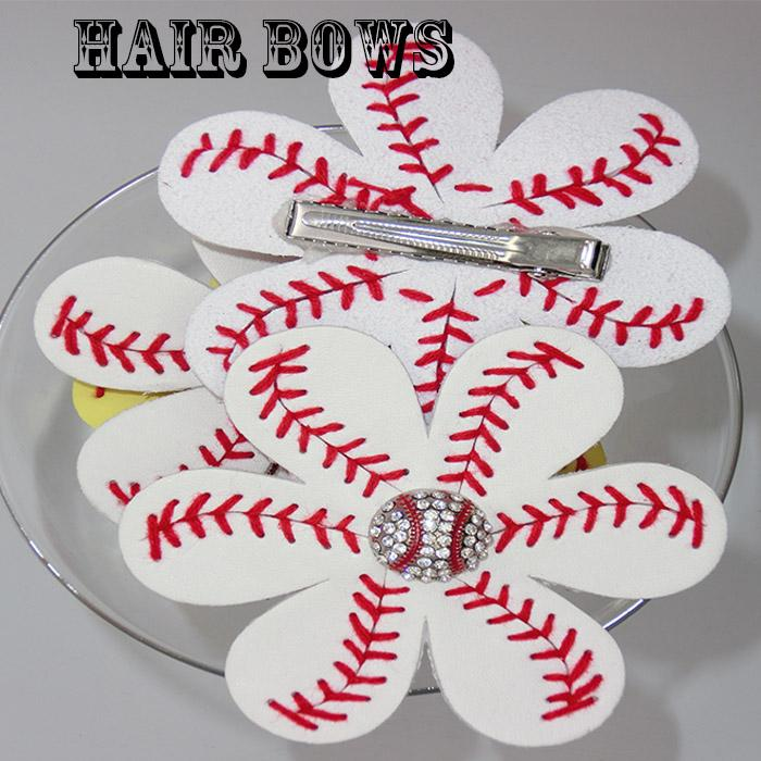 New arrival wholesale Softball or baseball red Suture Flower Accessory and hair clip,softball hair bows Hairbow fast free DHL 100pcs