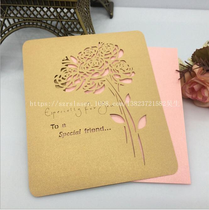 Custom made Golden Wedding Invitation Cards Flower Laser Cut
