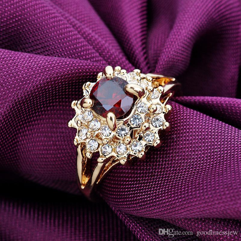 الأحجار الكريمة خواتم الذهب للمرأة خمر تشيكوسلوفاكيا 18K الذهب معبأ خواتم الزفاف الاشتباك