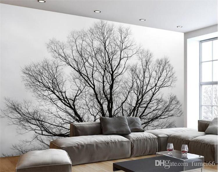 Custom Wallpaper Black White Trees Trees Mural Tv Background Wall