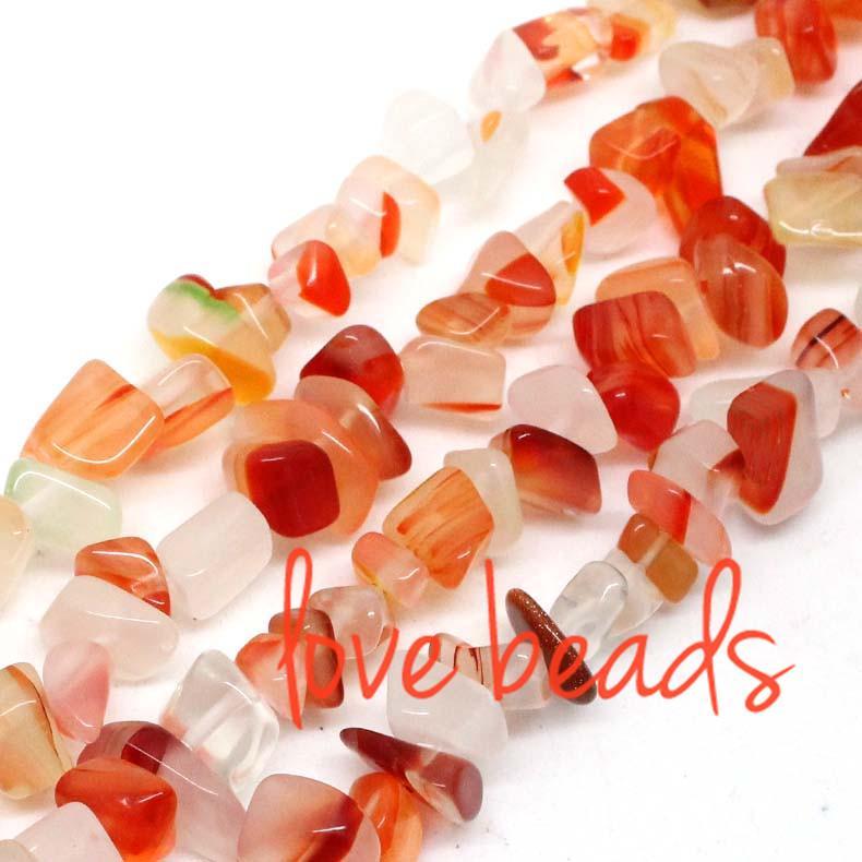 5mm-8mm Irregular Natural Smooth Red Agate Gravel Stone Loose Beads Freeform Strand 80CM Diy Bracelets (F00373) wholesale