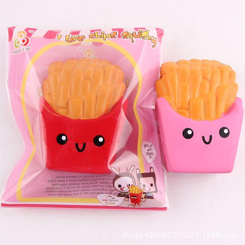 Neue Ankunft Jumbo 12CM kawaii nette Pommes Frites Soft Scented Bread Kuchen matschig langsam steigende Rebound Dekompression Spielzeug mit bunten Opp Bag