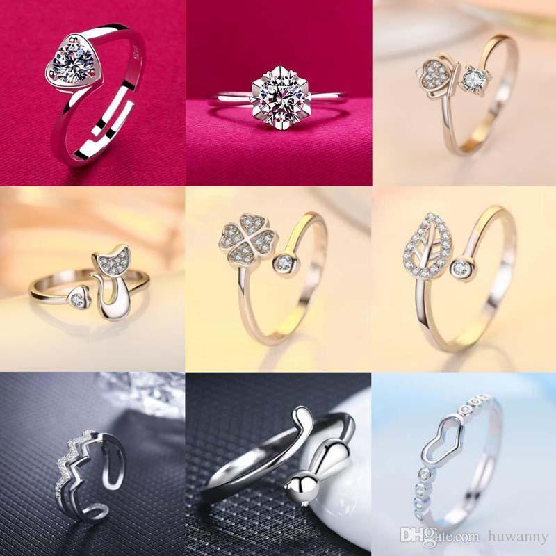 Silver Rings Jewelry Hot Sale Crystal Finger Band Rings For Women Girl Party Open Size Wholesale Free Shipping 0672WH