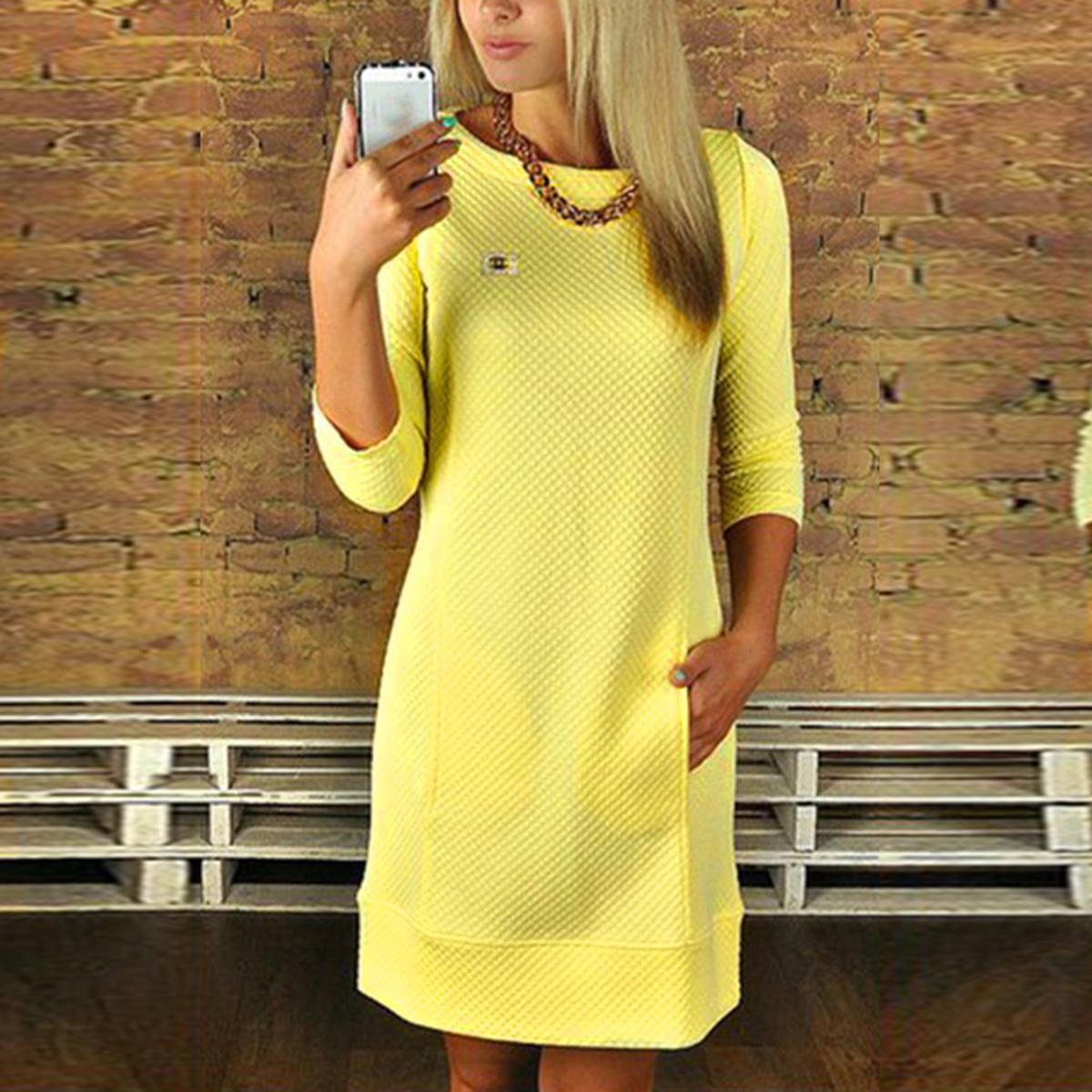 großhandel hot sale 2016 frauen a linie kleid damen herbst winter  beiläufige feste midi kleider langarm o ansatz taschen knielangen vestidos  von