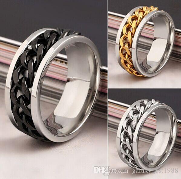 Commercio all'ingrosso mix 36pcs argento da uomo in argento dorato tono nero a catena in acciaio inox spinner anelli di gioielli di moda di alta qualità