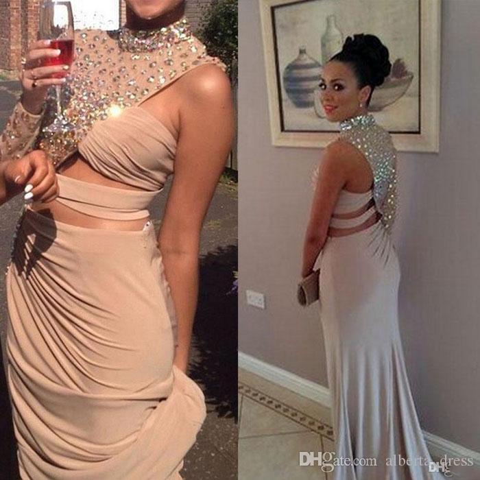 Sirena di cristallo Asimmetrica buco della serratura Jersey Abiti da sera aderenti e svasati Abito da ballo Immagine reale Celebrity Red Carpet Dress