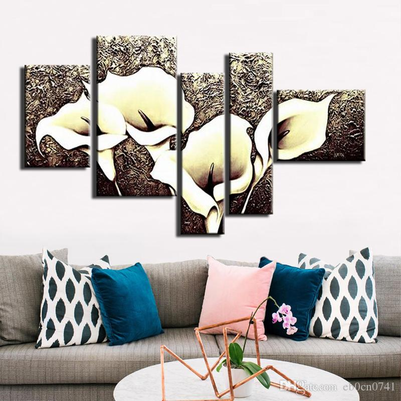 100% handgemaltes modernes starkes Beschaffenheitssegeltuch-Ölgemälde abstrakte Kunstlilie blüht Bilder 5pcs / set einzigartiges Zuhause dekorativ