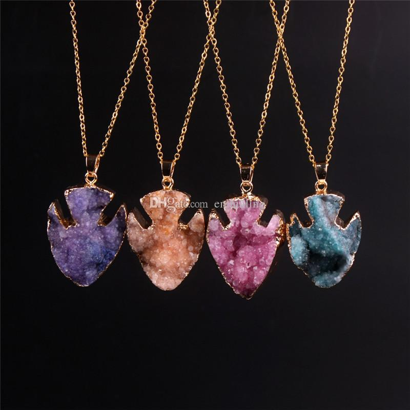 Nice Fish Shape Natural Quartz Agate Pendants Necklace Collar Drusy Amethyst Druzy Beads Stone Cabochon Gold Plated Chain Statement Necklace